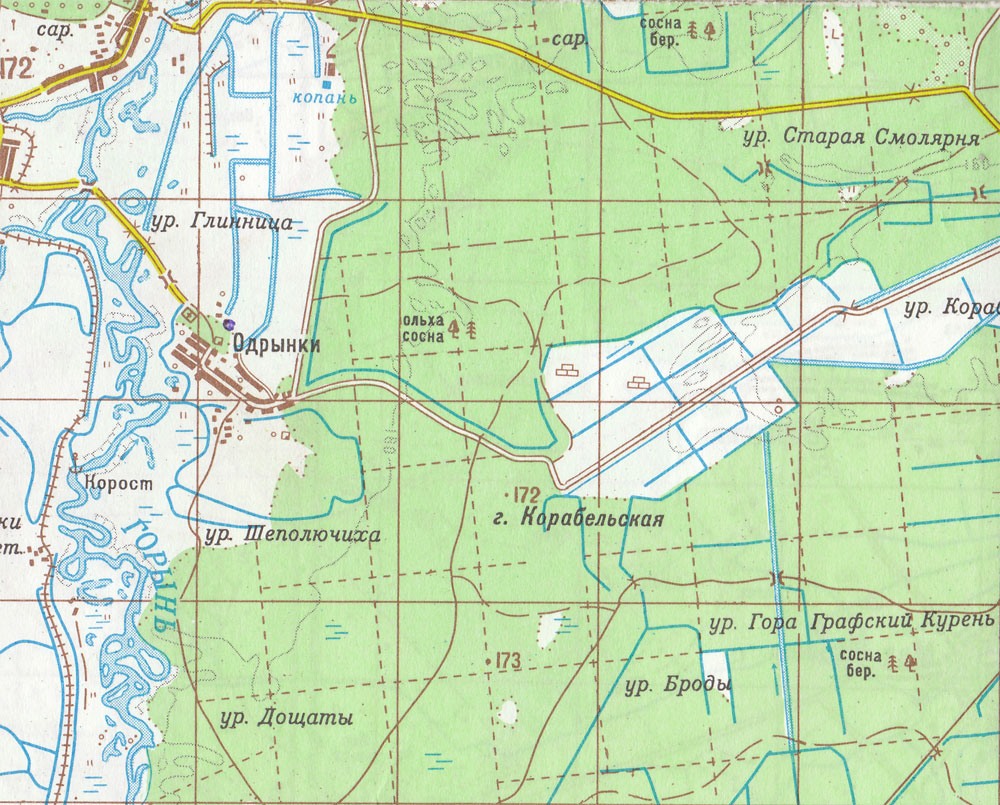 Топографічна карта села Одринки