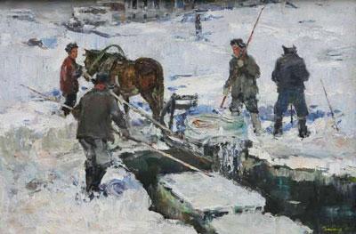 Вайшля Леонид Игнатьевич «Заготовка льда» 1965 г.
